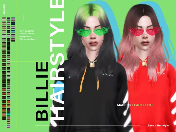 The Sims Resource: Billie Hair by LeahLillith for Sims 4