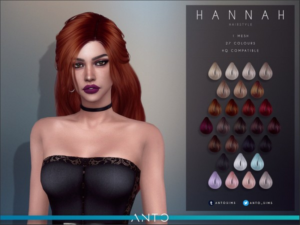 The Sims Resource: Hannah hair by Anto for Sims 4