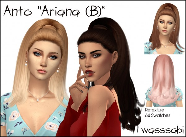 Wasssabi Sims: Anto`s Ariana Hair Retextured for Sims 4