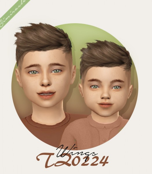 Simiracle: WINGS TZ0224 hair retextured   kids and toddlers version for Sims 4
