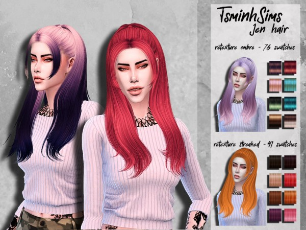 The Sims Resource: Tsminh`s Jen Hair retextured by HoneysSims4 for Sims 4