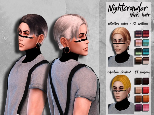 The Sims Resource: NightCrawler`s Nick Hair Retextured by HoneysSims4 for Sims 4