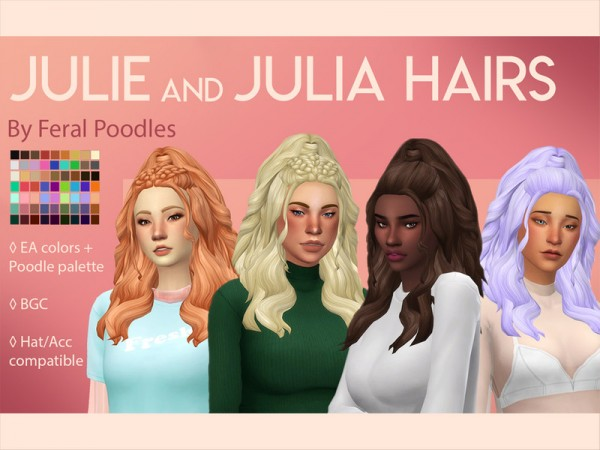 The Sims Resource: Julia Hair by feralpoodles for Sims 4