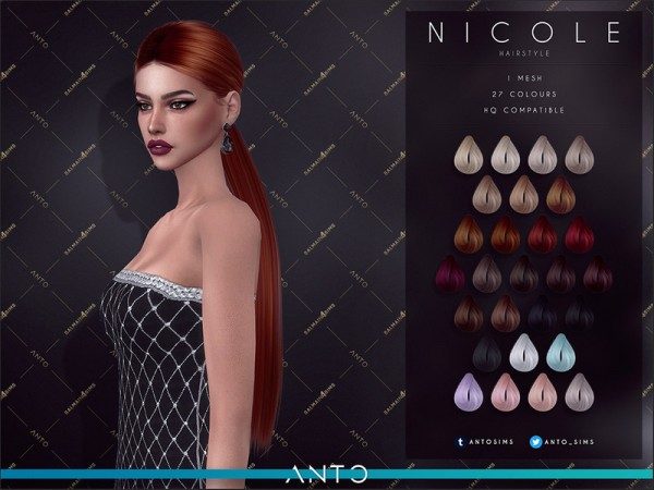 The Sims Resource: Nicole Hair by Anto for Sims 4