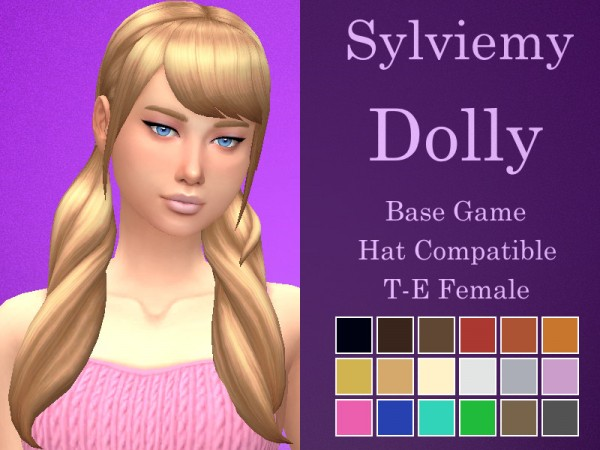 The Sims Resource: Dolly Hair Retextured by Sylviemy for Sims 4