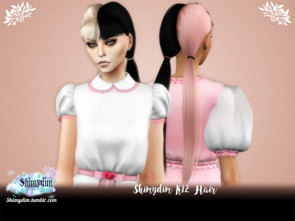 Shimydim: K12 Hair With and Without Bangs for Sims 4