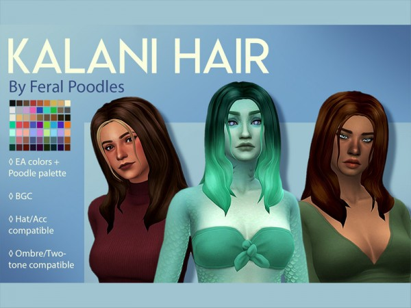 The Sims Resource: Kalani Hair by feralpoodles for Sims 4