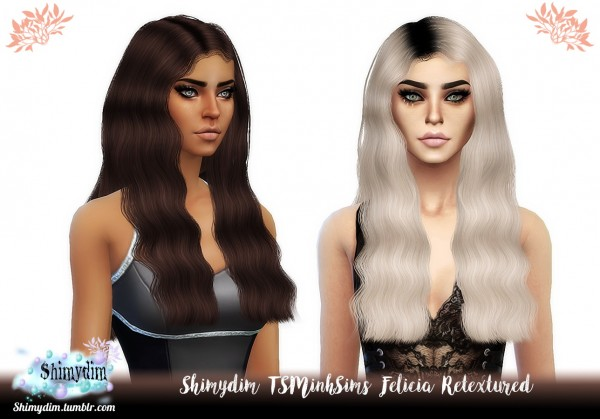 Shimydim: TSMinh`s Felicia Hair Retextured for Sims 4