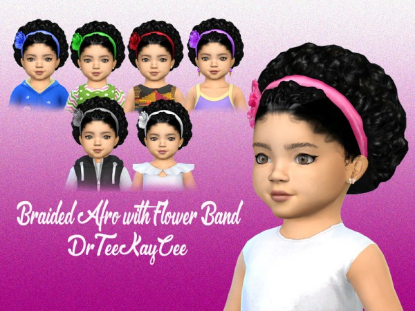 The Sims Resource: Braided Curly Afro with Flower Band hair retextured by drteekaycee for Sims 4