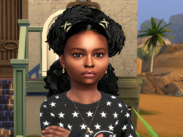 The Sims Resource: Wavy Pony Blowout Hair Retextured by drteekaycee for Sims 4