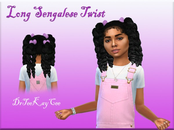 The Sims Resource: Long Senegalese Twist Hair retextured by drteekaycee for Sims 4