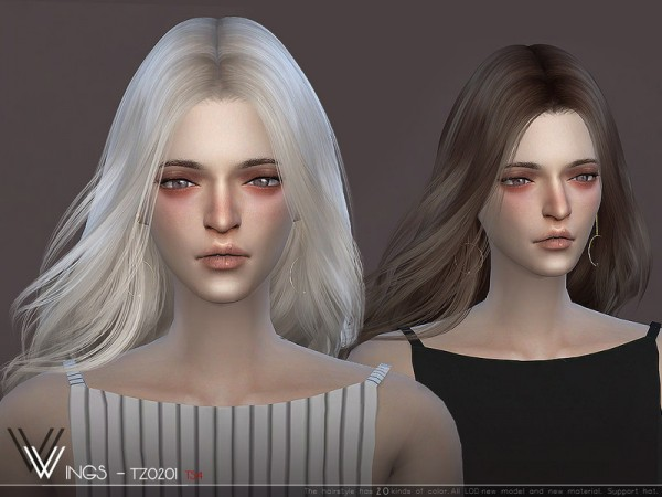 The Sims Resource: WINGS TZ0201 hair for Sims 4