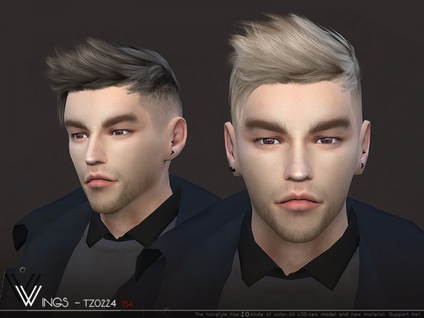 The Sims Resource: WINGS TZ0224 hair for Sims 4