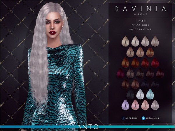 The Sims Resource: Davinia Hair by Anto for Sims 4