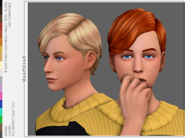 The Sims Resource: Lucian Hair by magpiesan for Sims 4