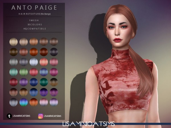 The Sims Resource: Anto`s Paige Hair Retextured by Lisaminicatsims for Sims 4