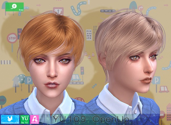 NewSea: YU109 OpenUp hair for Sims 4