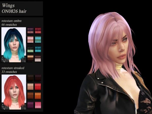The Sims Resource: Wings ON0826 hair recolored and retextured by HoneysSims4 for Sims 4