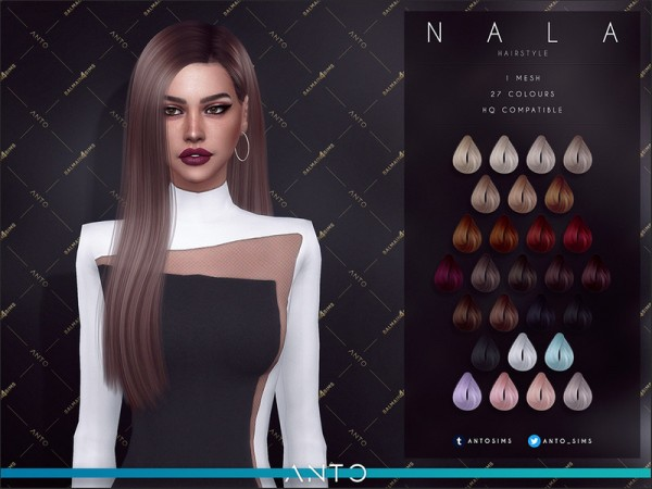 The Sims Resource: Nala hair by Anto for Sims 4