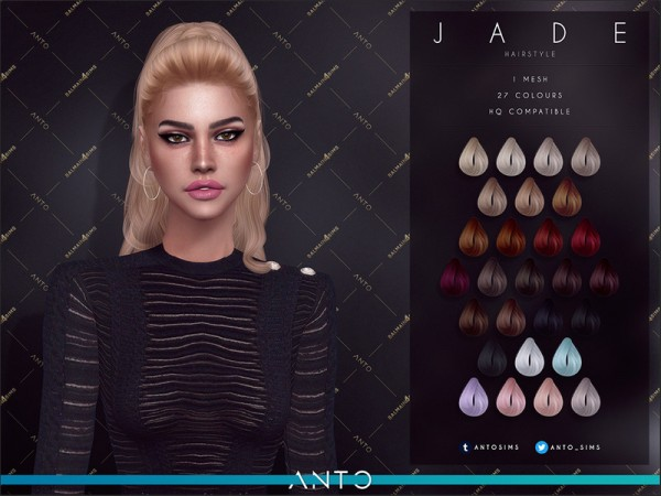 The Sims Resource: Jade Hair by Anto for Sims 4