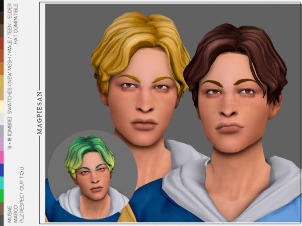 The Sims Resource: Marco Hair by magpiesan for Sims 4