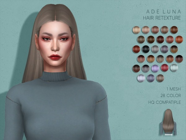 The Sims Resource: AdeDarma`s Luna Hair Retextured by Lisaminicatsims for Sims 4