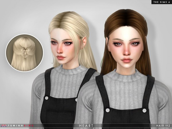 The Sims Resource: Heart Hair 112 by TsminhSims for Sims 4