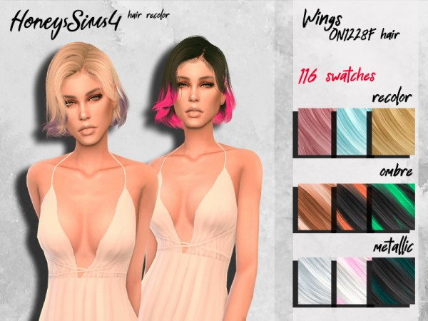 The Sims Resource: Wings ON1228F Hair Recolored by HoneysSims4 for Sims 4