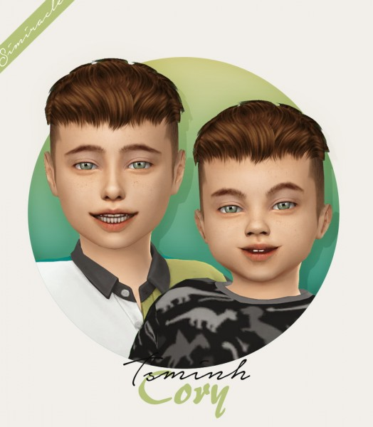 Simiracle: Tsminh`s Cory Kids and toddlers version hair retextured for Sims 4