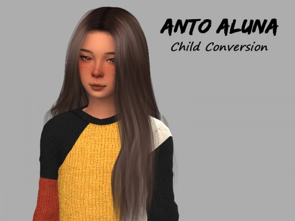 The Sims Resource: Anto`s Aluna hair retextured   Child Conversion by for Sims 4