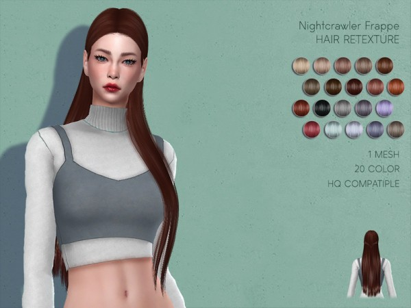 The Sims Resource: Nightcrawler Frappe Hair Retextured by Lisaminicatsims for Sims 4