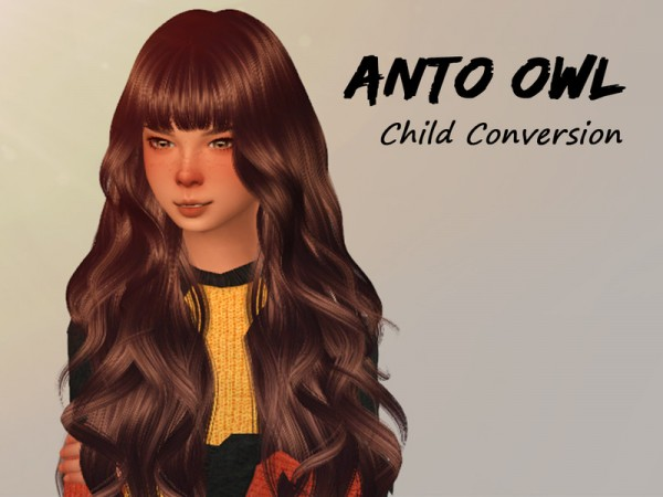 The Sims Resource: Anto`s Owl Child Hair Retextured by Alfyy for Sims 4