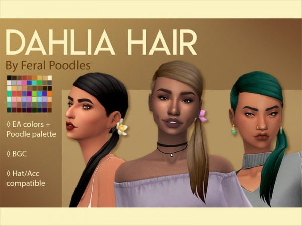 The Sims Resource: Dahlia Hair retextured by feralpoodles for Sims 4