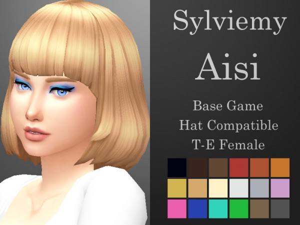 The Sims Resource: Aisi Hair Retextured by Aisi Hair for Sims 4