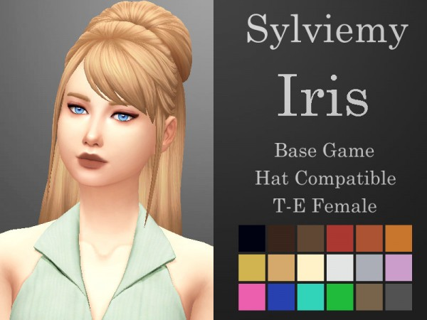 The Sims Resource: Iris Hair retextured by Sylviemy for Sims 4