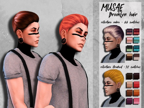 The Sims Resource: Musae`s Brooklyn hair Retextured by HoneysSims4 for Sims 4
