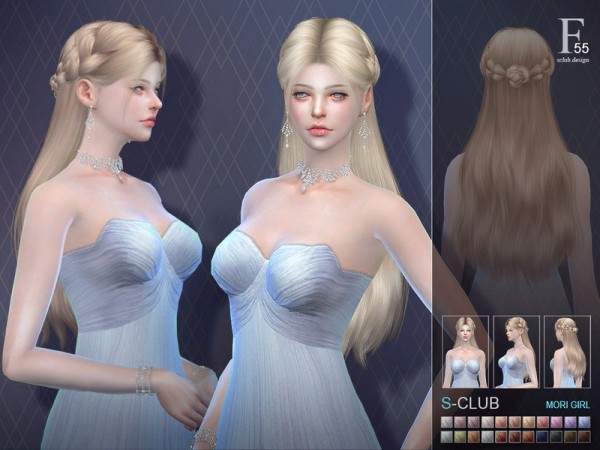 The Sims Resource: Hair n55 by S Club for Sims 4