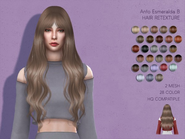The Sims Resource: Anto`s Esmeralda Hair Retextured by Lisaminicatsims for Sims 4