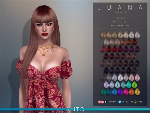 The Sims Resource: Juana Hair by Anto for Sims 4
