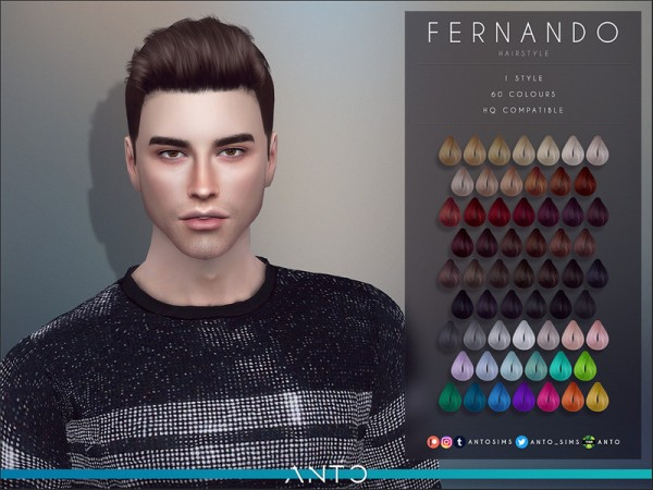 The Sims Resource: Fernando Hair by Anto for Sims 4