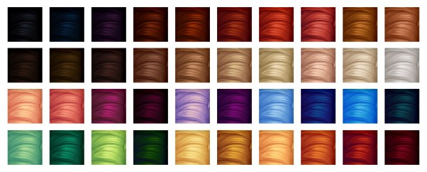 Simandy: 40 Puppy Crow colors, 20 Naturals and 20 Unnaturals For Hairs for Sims 4