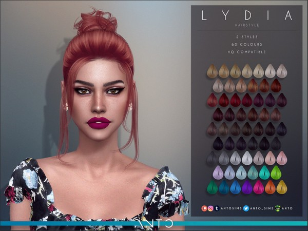 The Sims Resource: Lydia Hair by Anto for Sims 4