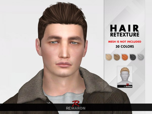 The Sims Resource: Damien Hair Retextured by remaron for Sims 4