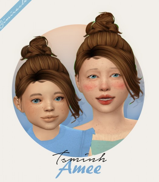 Simiracle: Tsminh`s Amee Hair retextured   kids version for Sims 4