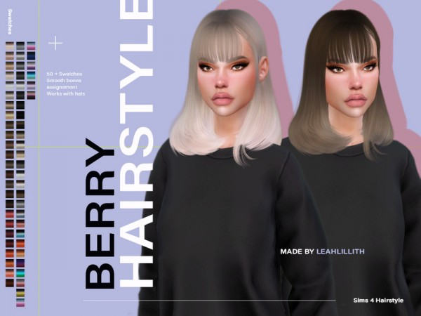 The Sims Resource: Berry Hair by LeahLillith for Sims 4