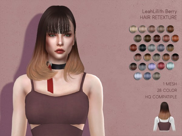 The Sims Resource: LeahLillith`s Berry Hair Retextured by Lisaminicatsims for Sims 4