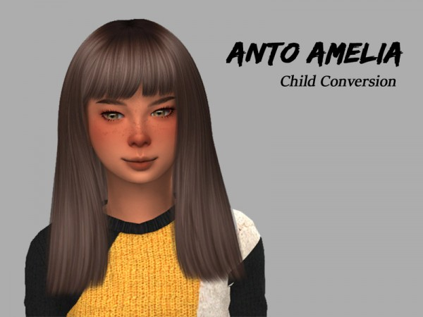 The Sims Resource: Anto`s Amelia Hair Retextured   Child Version by Alfyy for Sims 4