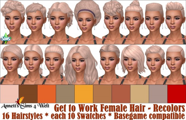 Annett`s Sims 4 Welt: Get to Work   Female Hair   Recolors for Sims 4