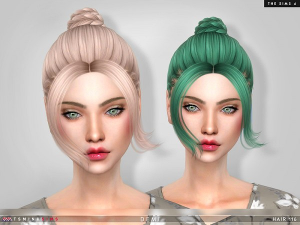 The Sims Resource: Demi Hair 116 by TsminhSims for Sims 4