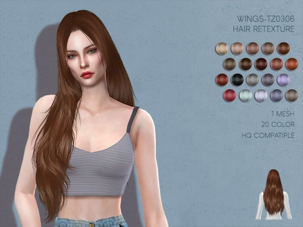 The Sims Resource: WINGS TZ0306 Hair Retextured by Lisaminicatsims for Sims 4